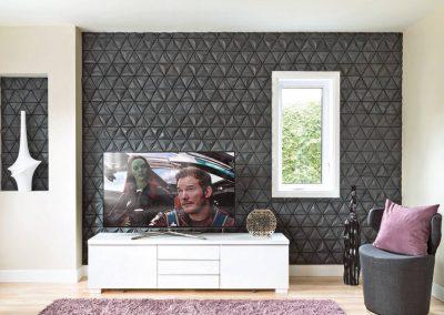 Mur accent imposant - Crédit photo au magazine Je Décore des Éditions Pratico-Pratiques. Photographe: Rémy Germain